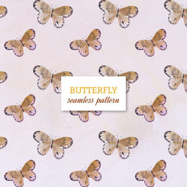 Watercolor seamless pattern with butterflies vector