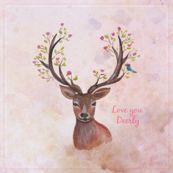 Watercolor reindreer with big antlers, spring flowers on the horns, branches, cherry blossom vector