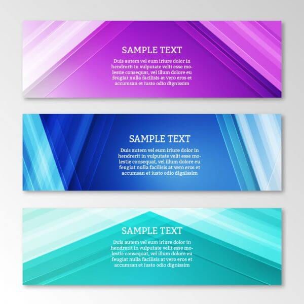 Abstract web banners set with motion modern lines vector