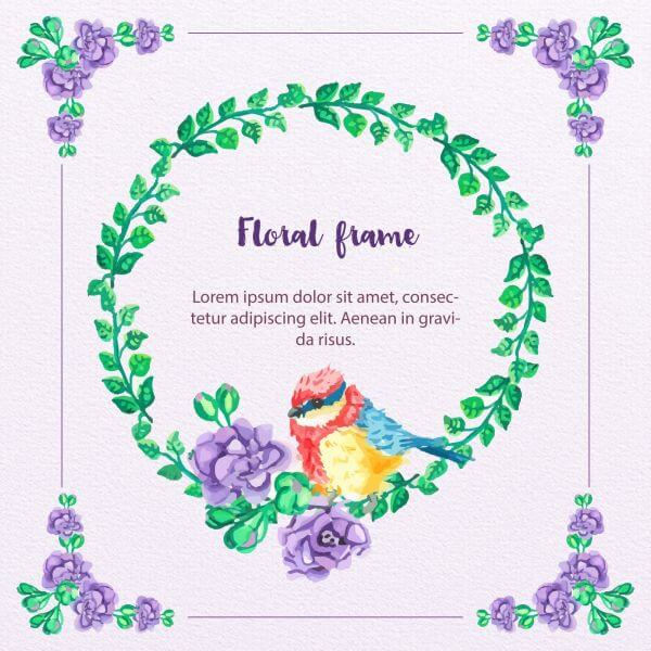 Watercolor Floral Frame With Bird vector