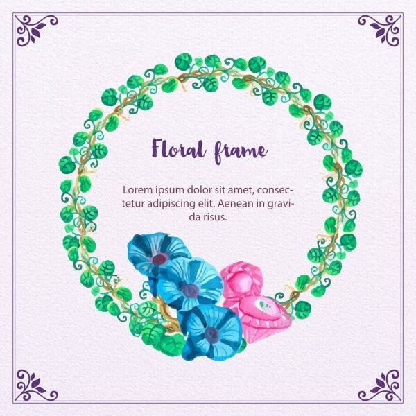 Watercolor Floral Frame vector