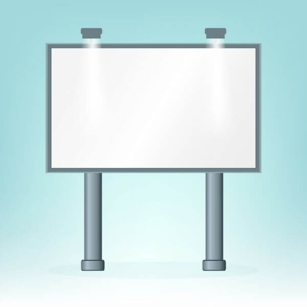 Blank billboard, on blue bacground, design  vector
