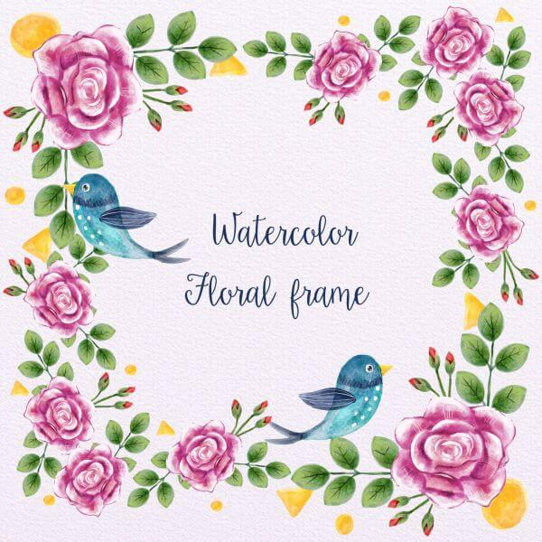 Watercolor Floral Frame With Birds vector