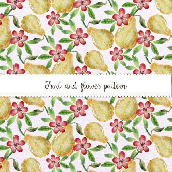 Watercolor Pattern With Pears and Flowers vector