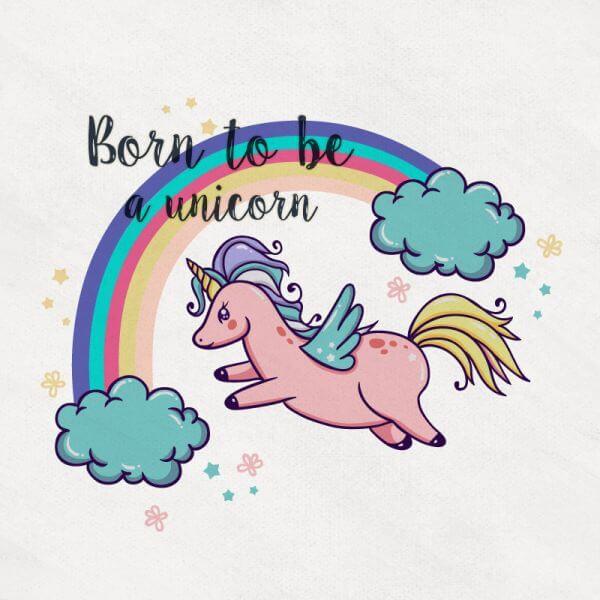 Cute Magical Unicorn With Rainbow vector