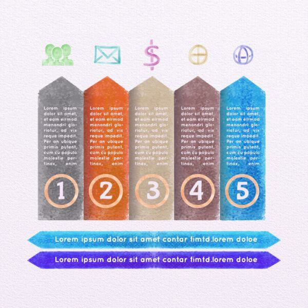 Vector Watercolor Infographic Set vector