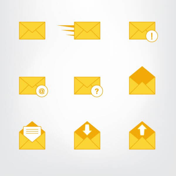 Letter, mail symbols and pictograms vector