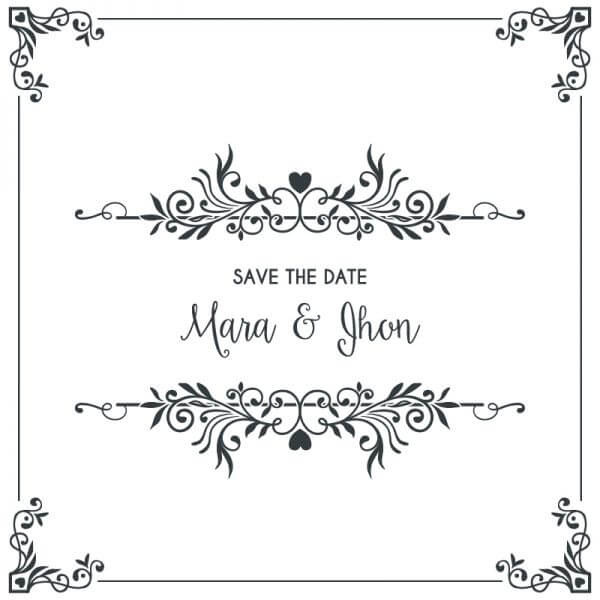 Wedding card invitation with frame vector