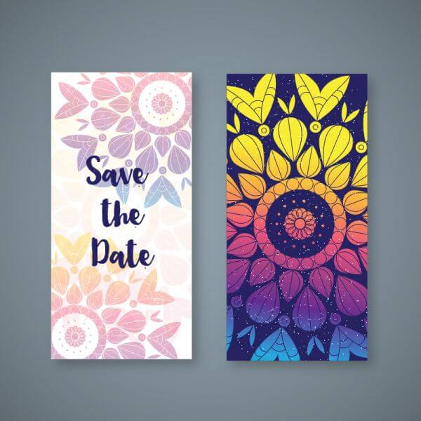 Colorful boho wedding banner vector