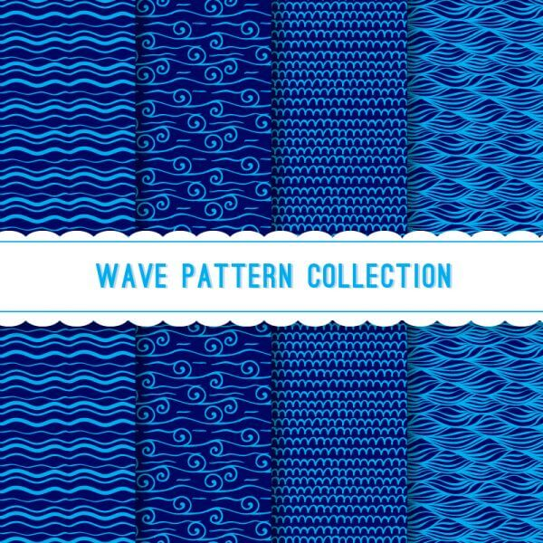Blue wave pattern collection vector