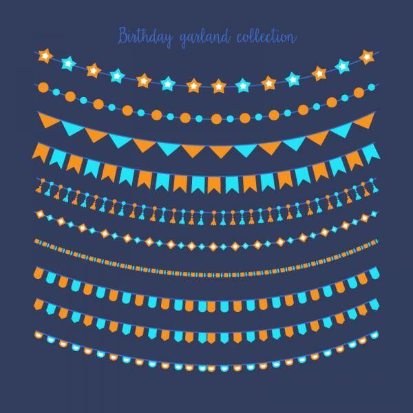 Birthday garland collection vector