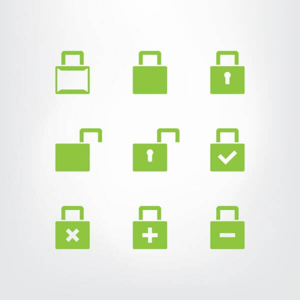 Set of green lock icons vector