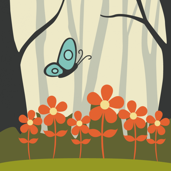 Butterfly flying over red flowers vector