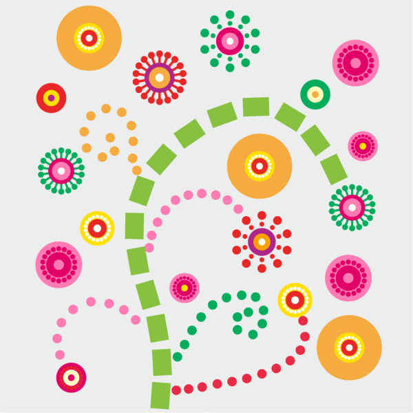 Colorful floral composition vector