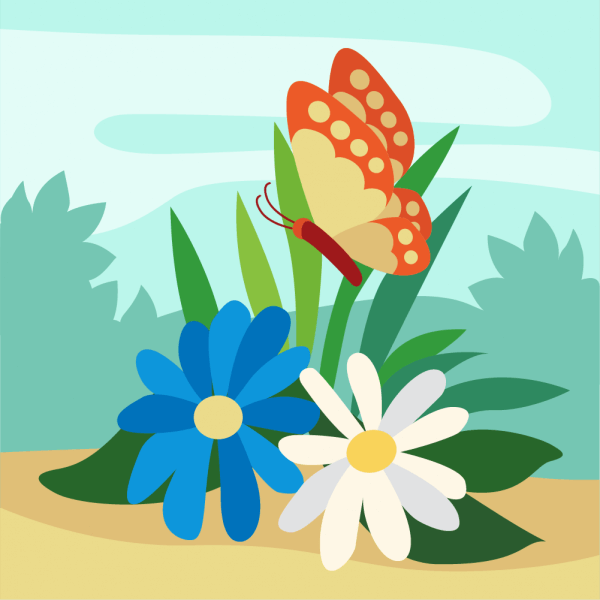 Colorful Butterfly lingering over Flowers vector