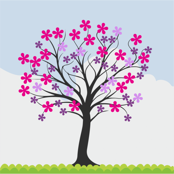 Flowering spring tree vector