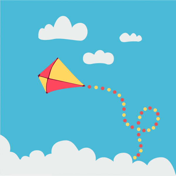Children kite flying above the clouds vector