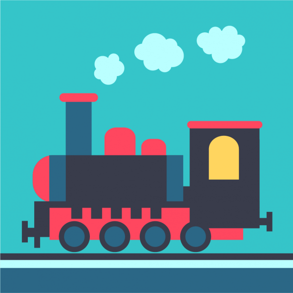 Steam locomotive on rails vector
