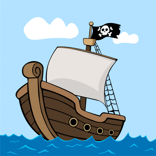 Pirate ship on sea vector