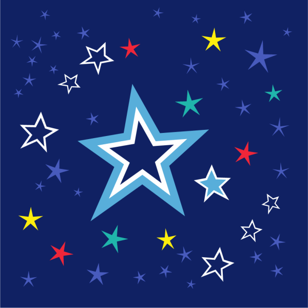 Colorful stars on night sky vector