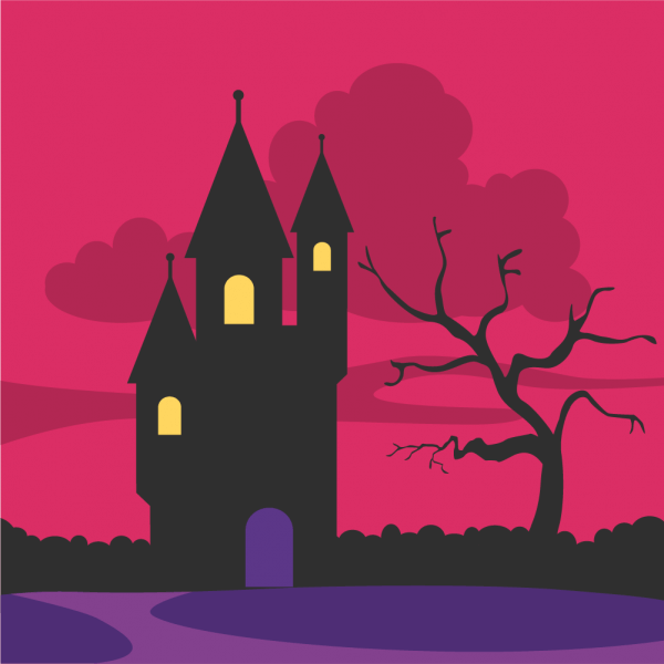 Creepy castle at the dawn vector