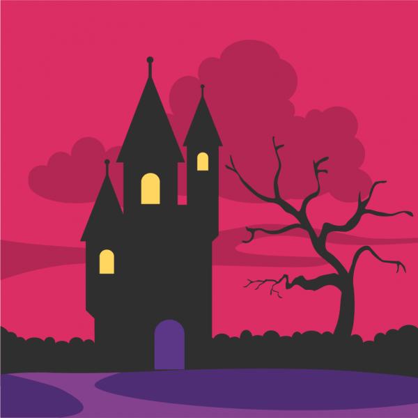 Creepy castle at the dawn vector