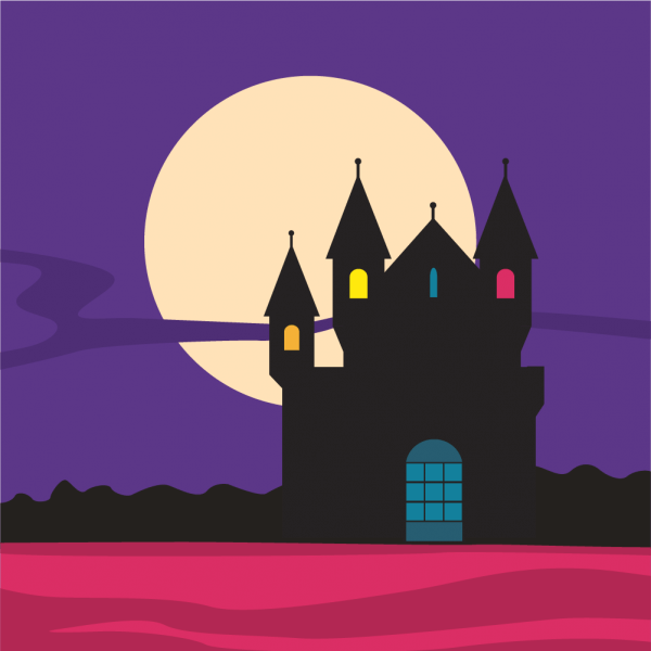 Mysterious castle silhouette with moon in the background vector