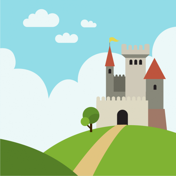 Castle on the hill with pathway vector
