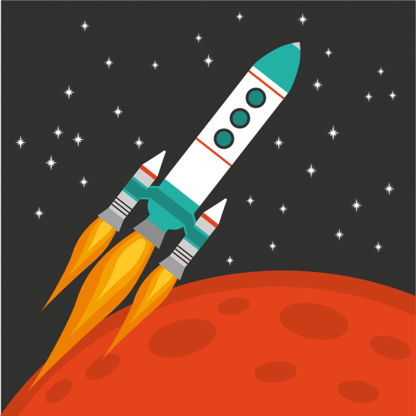 Rocket flying in space with red planet and stars on background vector