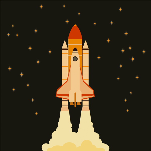 Space shuttle flying in space with stars on background  vector