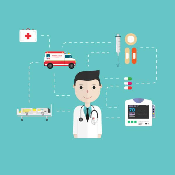 Medical icons in flat style vector