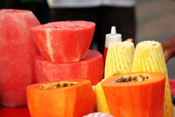 Cut Fruits Papaya Water Melon Pineapple photo