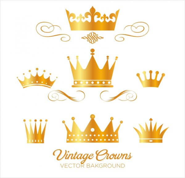Set of gold king crowns vector