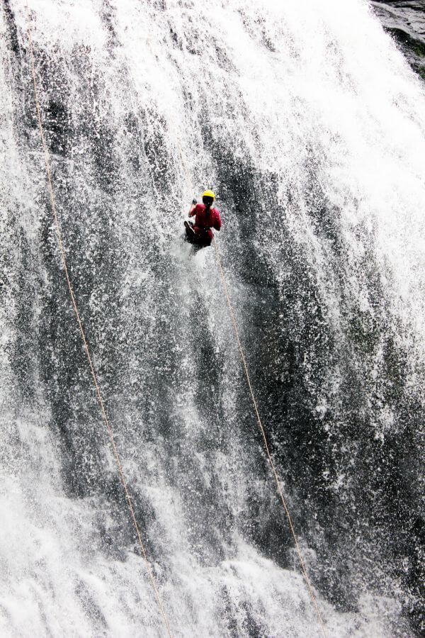 Waterfall Man Climbing Rappelling photo