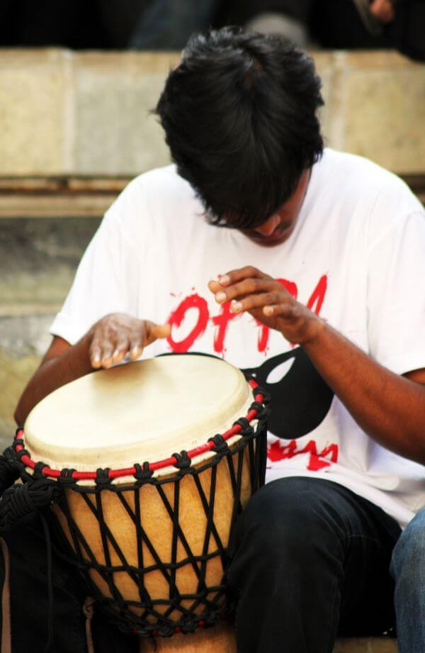 Drummer Playing With Hands photo