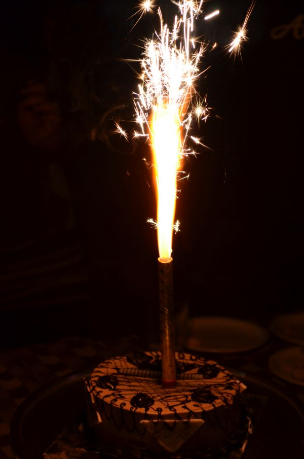 Cake Candle Fiery Sparkles photo