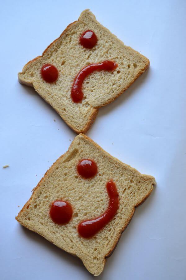 Happy Sad Smiley In Bread photo