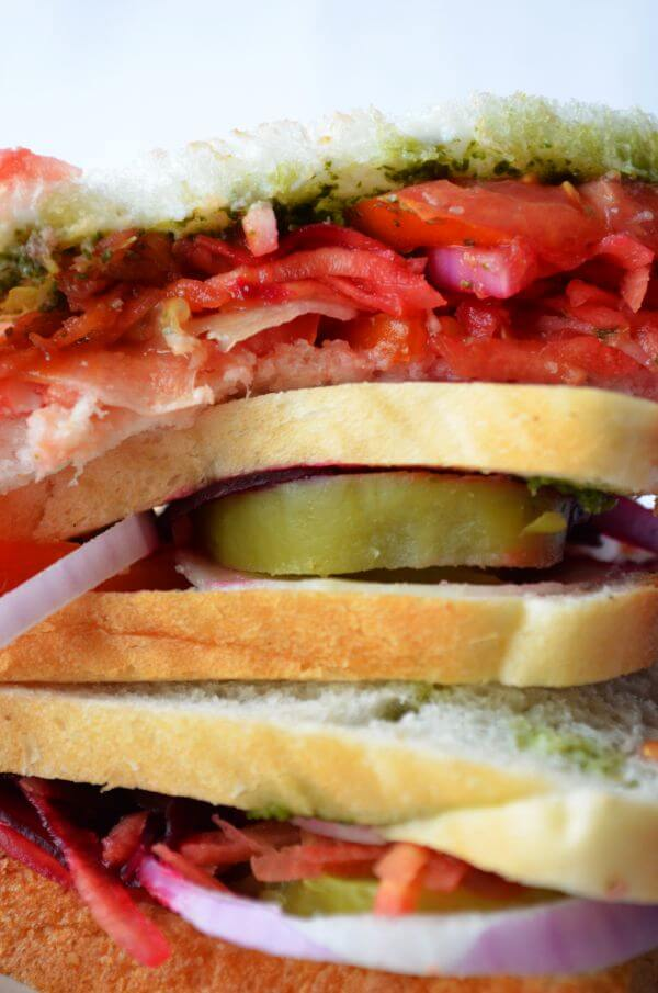 Vegetable Sandwich Closeup photo