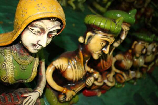 Colorfully Painted Indian Handicrafts Artifacts photo