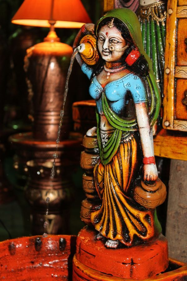 Indian Colorful Water Fountain Woman photo
