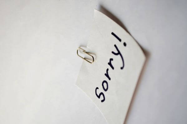 Sorry Note Pin photo