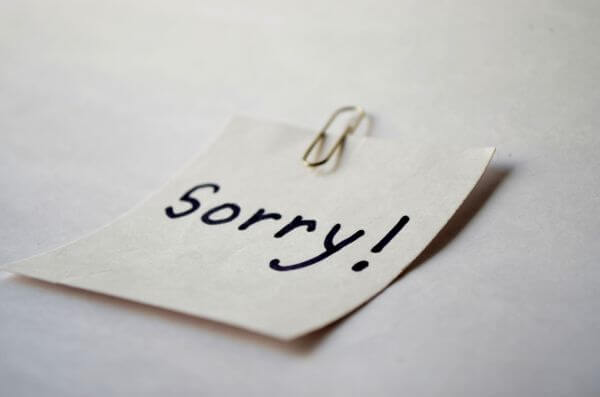 Sorry Note photo