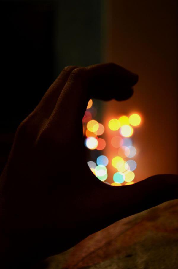 Bokeh Lights Hands photo