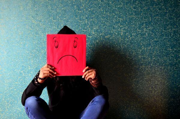 Sad Face Placard Man photo