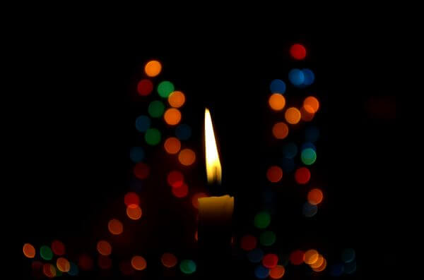 Candle Bokeh Christmas Lights photo