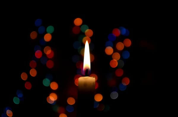 Candle With Bokeh Lights photo