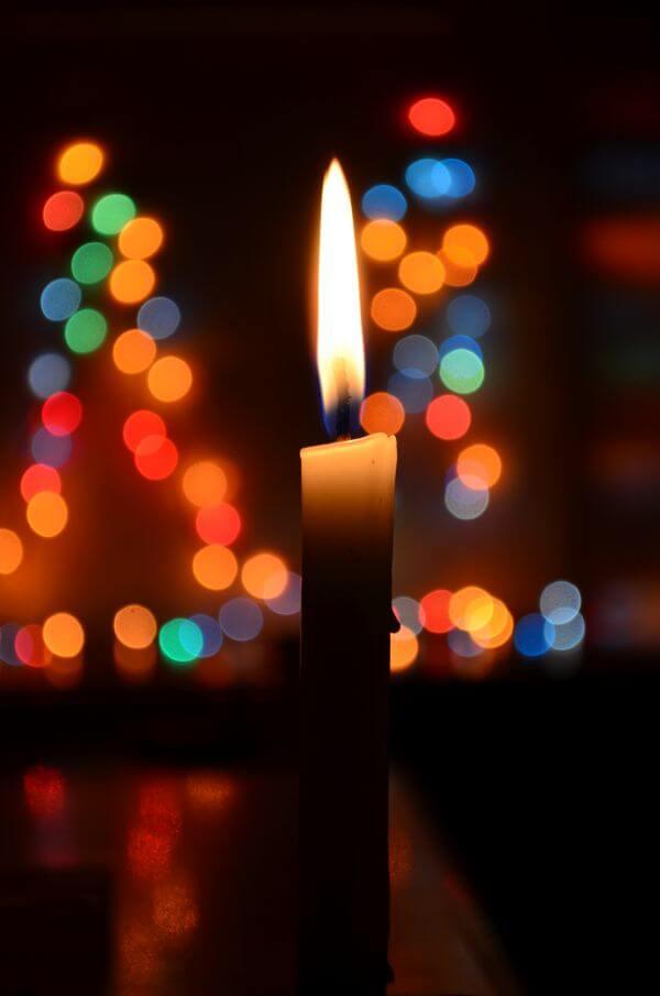 Christmas Lights Candle photo