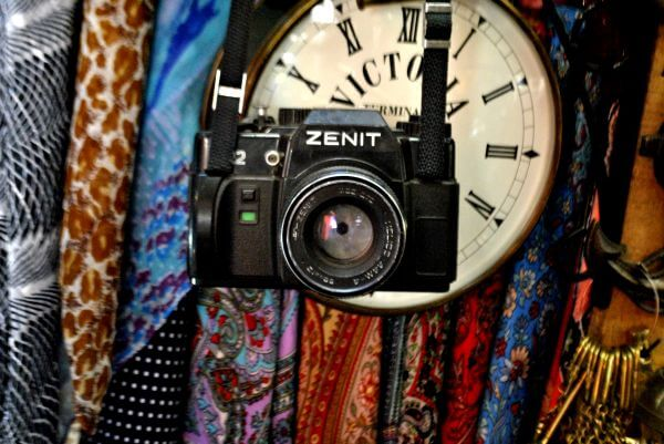 Antique Shop Camera Clock photo