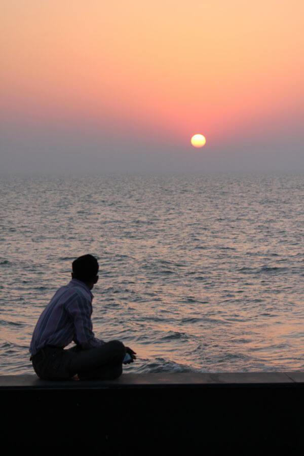 Man Sitting Sunset Thinking photo