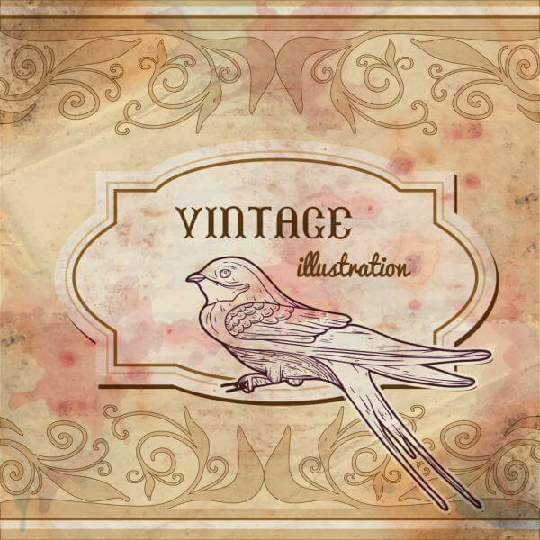 Vintage watercolor frame with swallow vector